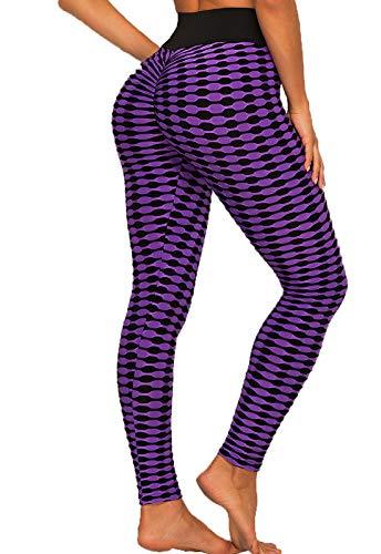 FITTOO Leggings Mujer Celosía Clásica Coincidencia Color Pantalones Deportivos Yoga Alta Cintura Elásticos Transpirables Amorado Grande