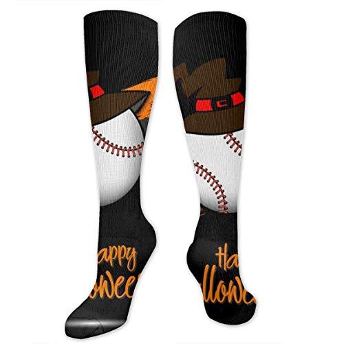 zhouyongz Baseballball mit Hexenhut und Happy Hallowen Herren bunte Socken Funky – Herren bunt gemustert modische Crew Baumwolle Socken