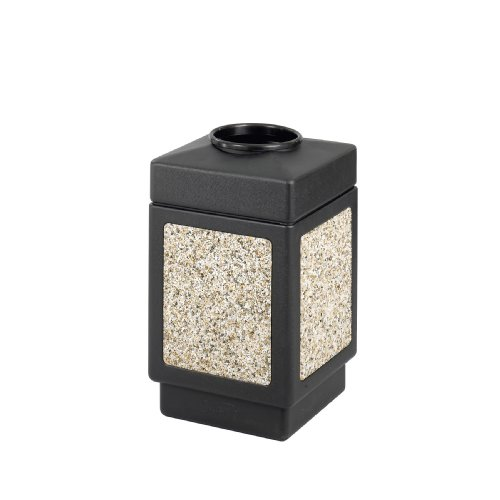 Safco Products Canmeleon Outdoor/Indoor Aggregate Panel Trash Can 9471NC, Black, Natural Stone Panels, 38 Gallon Capacity