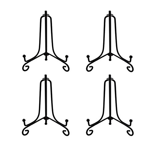 Artliving 3.5 Inch Black Mini Iron Stand Cookie Holder Display Stand Place Card Holder Display Easels at Weddings, Birthday Party (4 Pack)