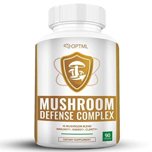 OPTML Mushroom Defense Complex, 10 Mushroom Blend, Energy, Clarity, Immune System Support, Boost Body's Defense, Improve Focus & Memory, Brain Booster, Reishi Mushroom Supplements (90 Capsules)