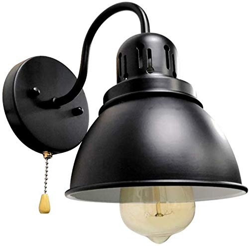 HIGHKAS Industrial Wall Lights,E27 Lamp Holder Metal Iron Sconce Fixtures Lighting for Country House Hallway Bar Cafe,Loft Black Vintage Wall Lamp with Pull Chain Switch,Retro Wall Light -