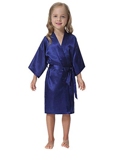 Aibrou Kids' Satin Kimono Robe Bathrobe Nightgown for Spa Party Wedding Birthday Dark Blue
