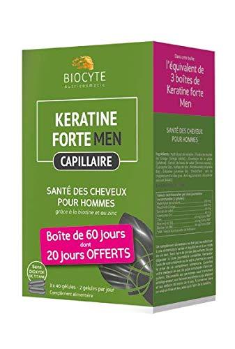 Biocyte - Kératine Forte - Sante des Cheveux - Pour Homme - Multi-Vitamines et Minéraux - Boîte de 60 jours dont 20 jours offerts