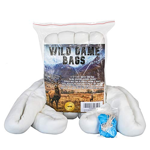 KTY Hunting Game Bags 4 Pack of 60-inch Game Bags Hunting Meat uses are elk Game Bags Game Bags Deer Caribou Game Bags elk Meat Bags Moose Game Bags Free Bonus Included