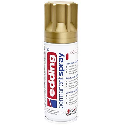 edding 5200 Permanent-Spray - reich-gold matt - 200 ml - Acryllack zum Lackieren und Dekorieren von Glas, Metall, Holz, Keramik, lackierb. Kunststoff, Leinwand, u. v. m. - Sprühfarbe