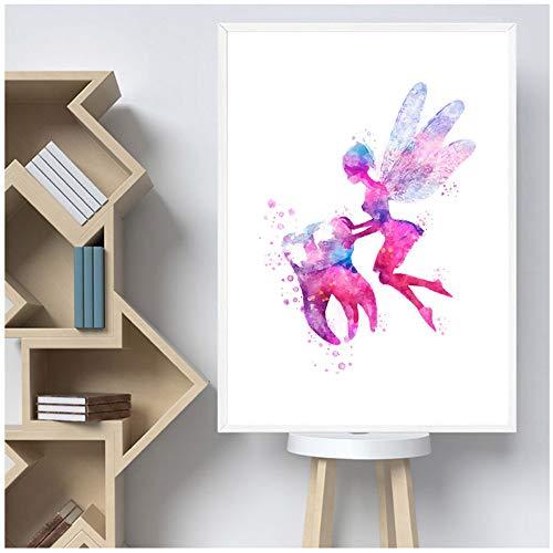 pintura en lienzo vivero de dientes arte de la pared clínica dental decoración acuarela diente impresión de póster cuadros de pared para habitación de niños 40x60cm (15.7