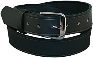 Boston Leather Off Duty Garrison Belt, 1 1/2 Brass Black Plain