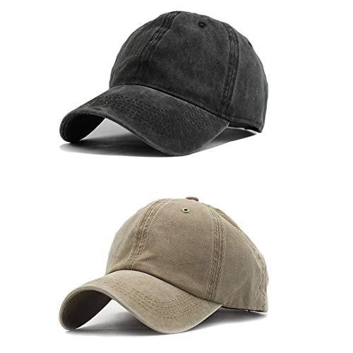 Unisex Vintage Washed Distressed Baseball Cap Plain Hat,Pack of 2,Black/Khaki