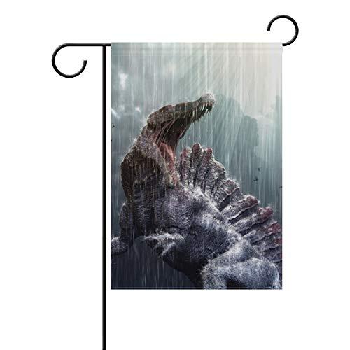 MONTOJ Cool Spinosaurus Dinosaurus Dinosaurus con tormenta Tropical Frontal, Bandera de Patio de Doble Cara Impresa multipatrón, poliéster, 1, 12x18(in)
