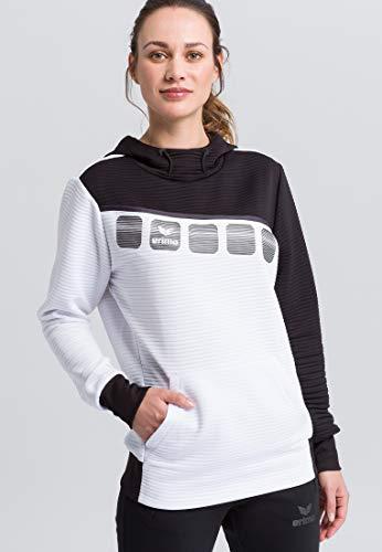 ERIMA Damen Hoodie 5-C Kapuzensweat, weiß/schwarz/dunkelgrau, 40, 1071912