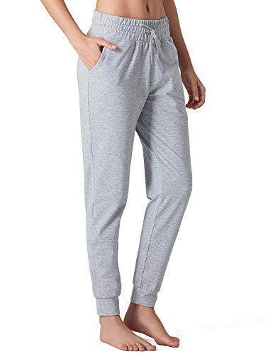 Naviskin Damen Yoga Laufhose Outdoor Lounge Sweat Pants Seitentaschen - Grau - Mittel