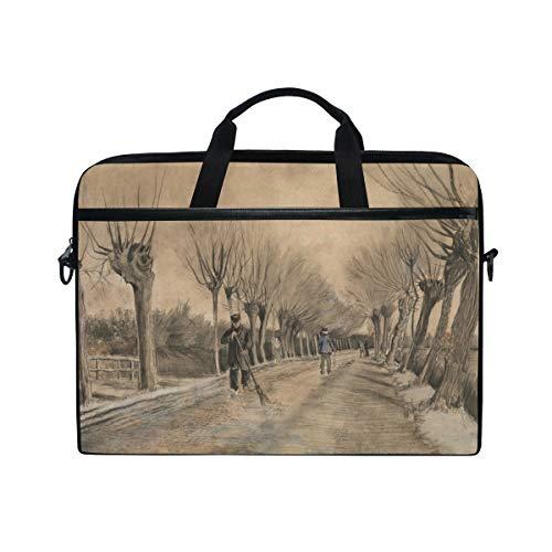Rootti Laptop Case Vintage Road Pattern Laptop Shoulder Bag Handle Canvas Notebook Briefcase Computer Sleeve with Adjustable Shoulder Strap for 14 15 15.4 inch