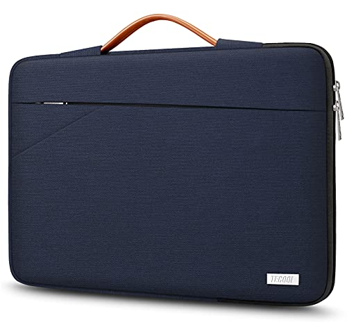 TECOOL 14 Inch Laptop Sleeve Protective Case Cover with Handle and Pockets for 14 Inch HP Lenovo Thinkpad Ideapad Dell Acer ASUS Chromebook Notebook Water-resistant Computer Bag, Dark Blue