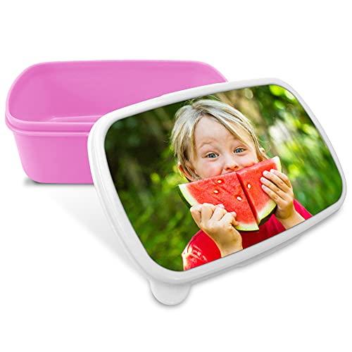 Portameriendas Infantil. Regalos Personalizados. Caja merienda con Foto. Apta para microondas y Libre de BPA, filatos y Metales Pesados Color Rosa
