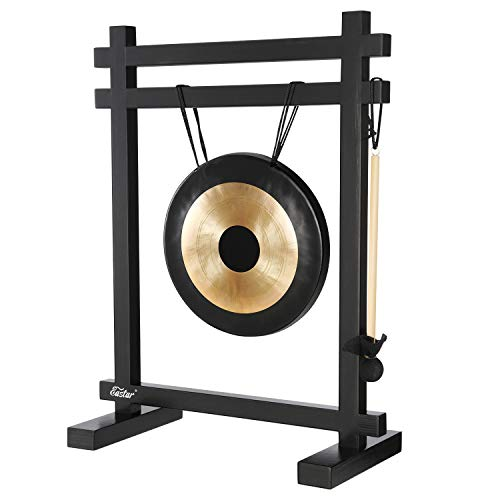 Eastar Gong Desk Gong Instrument Large Gong Desk Chime Meditation Gong Percussion Instruments with Mallet Desktop Gong Table Chime Black/Bronze