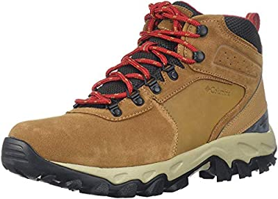 Columbia Men's Newton Ridge Plus II Suede Waterproof Boot, Breathable with High-Traction Grip Hiking, elk, mountain red, 7 Regular US