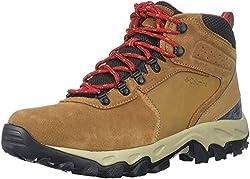 cheap Columbia Newton Ridge Plus II Men's Suede Hiking Shoes, Moose, Mountain Red, 11.5