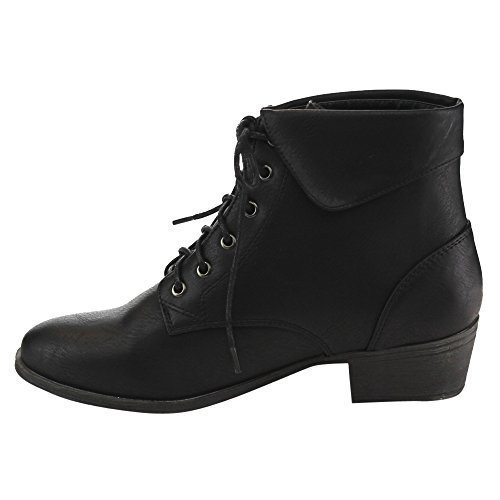 TOP Moda EC89 Women's Foldover Lace Up Low Chunky Heel Ankle Booties (8, Black)