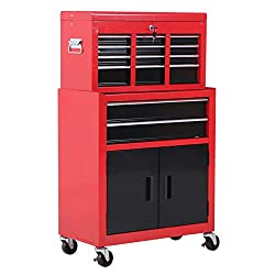✅Topchest & Rollcab Combination including 6 Drawer with 360°swivel Ball Bearing Runners ✅The top tool chest is lockable to help keep your belongings safe ✅Made from high power coated metal frame with a glossy paint finish to protect against rust ✅Rol...