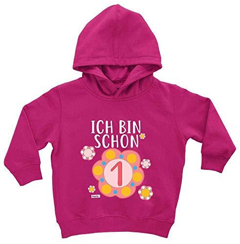 HARIZ HARIZ Baby Hoodie Ich Bin Schon Eins Blume 1 Geburtstag Geschenkidee Plus Geschenkkarten Einhorn Fuchsia 1-2 Jahre