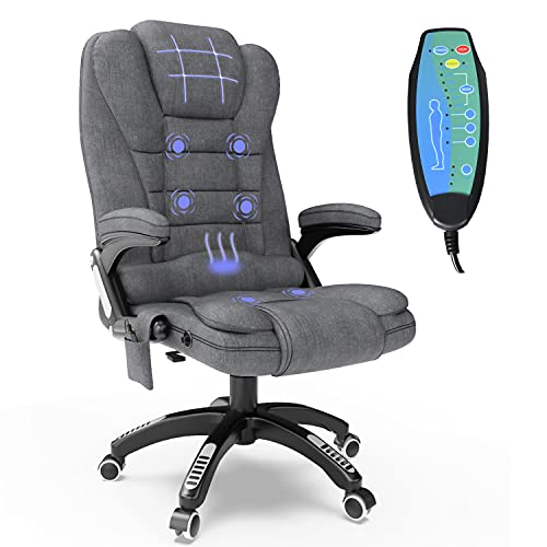 Ergonomic Massage Office Chair with Heated, Linen Fabric High Back Executive 6 Pointed Vibrating Computer Gaming Chair with Lumbar Support, Adjustable Back Recline Swivel 360° Desk Chair, Grey