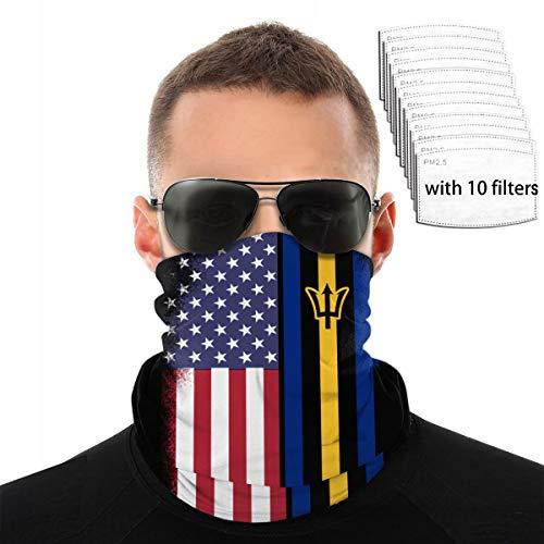 USA Barbados Mix Flag Neck Gaiter Filter Bandana Half Balaclava Headwear Neck Gaiter, Head Wrap with 10 Filter