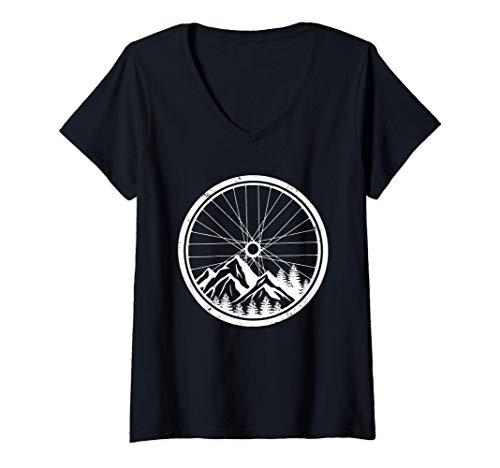 Damen Mountainbike-Reifen Natur Radfahren Outdoor Biking Biker T-Shirt mit V-Ausschnitt