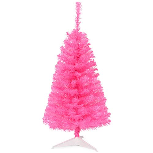 Goplus 3ft Pink Unlit Christmas Tree, Premium Small Tree, Perfect Xmas Decoration for Home Office School Use