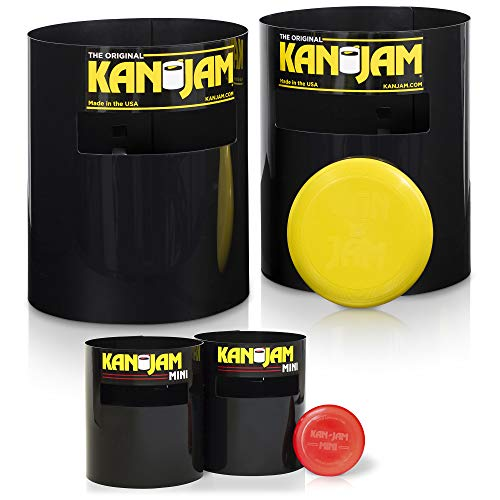 Kan Jam Portable Disc Slam Outdoor Game Value Pack - Weather Resistant Material - Includes 4 Targets, and 2 Flying Discs (Full Size Set & Mini Set), Black