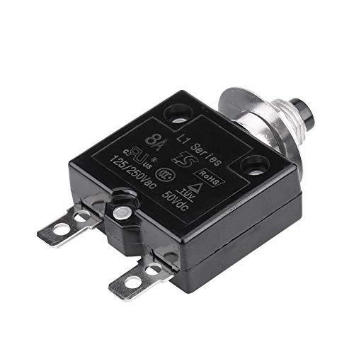 EVGATSAUTO Interruptor automático, Interruptor de reinicio Manual Interruptor térmico Protector de sobrecarga de Corriente 5A/8A/10A/15A/18A/20A/30A (Opcional)(8A)