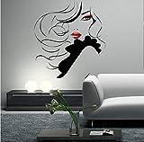 Liushengmeng Pin Up Girl Women Modern Hair Salon Etiqueta de la pared Decal Mural Transfer57x63cm...