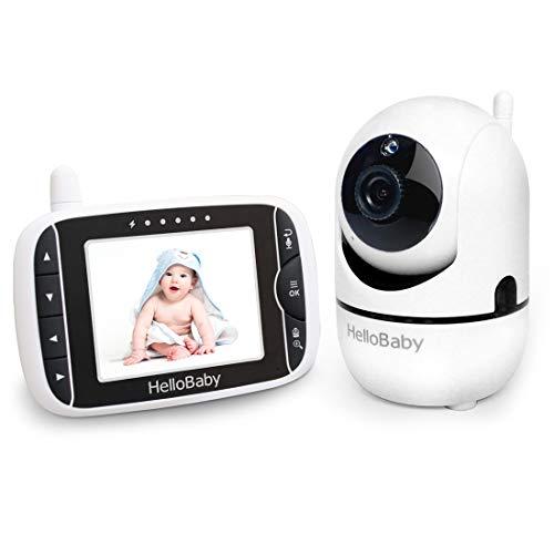 Babyphone mit Kamera, HelloBaby Video-Babyphone mit Pan-Tilt-Zoom-Kamera, 3,2-Zoll-Farb-LCD-Bildschirm, Infrarot-Nachtsicht, Temperaturanzeige, Schlaflied