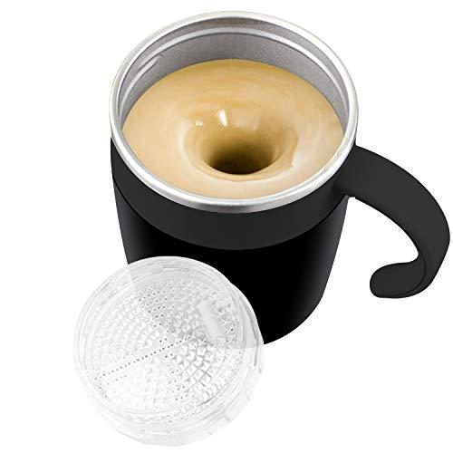 Yeswell Selbstrührender Becher, Automatisch Mischende Kaffeetasse, 320ml Magnetischer Mischbecher, Doppelwandiger Isolierter Selbstmischender Becher Aus Edelstahl für Kaffee, Milch, Tee, (Schwarz)