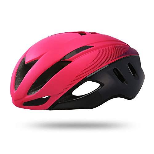 U/D Carretera de montaña Casco de la Bici Ligera y Transpirable Hombres y Mujeres Seguridad de la Bicicleta Casco de equitación (Color : Rosado)