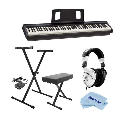 Roland Digital Piano FP-10-BK - Bundle With On-Stage KPK6520 Keyboard Stand/Bench Pack with Sustain Pedal, Behringer HPS3000 High-Performance Studio Headphones, Microfiber Cloth