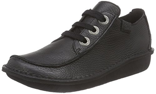Clarks Funny Dream, Zapatos de Cordones Derby Mujer, Negro (Black Leather), 37.5 EU