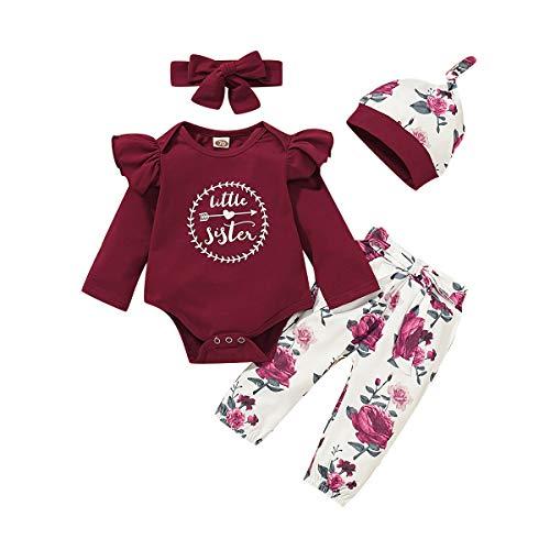 3 Piezas Bebé Niña Conjunto de Ropa Recién Nacido Body Traje Volantes Manga Corta/Larga Mono Peleles + Floral Cortos/Pantalones + Diadema/Sombrero Recién Nacido (LL-Letra Flor Vino, 6-12 Meses)