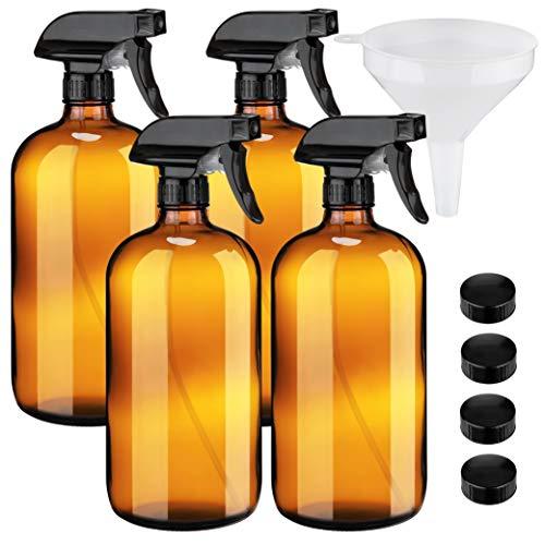 Botellas grandes de cristal ámbar con embudo de 32 onzas – Recipientes recargables para aceites, productos de limpieza, niebla vegetal, cocina, cabello y belleza. Incluye 4 botellas y 1 embudo.