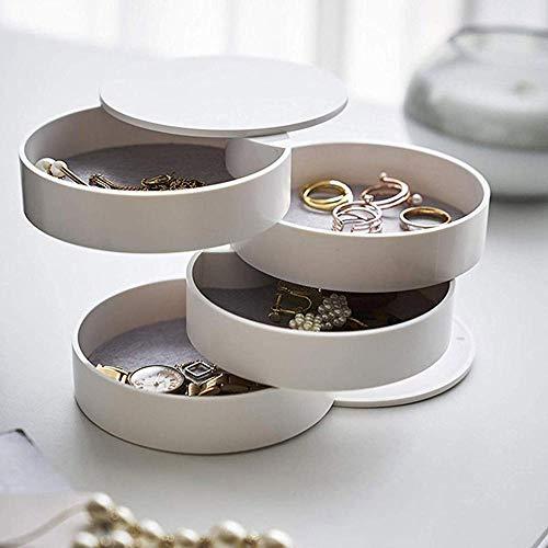 Peedeu - Joyero de 360 grados de rotación gratuita para mujeres y niñas, anillos, pendientes, collares, pulseras, caja de almacenamiento de tamaño pequeño, organizador de maquillaje de viaje