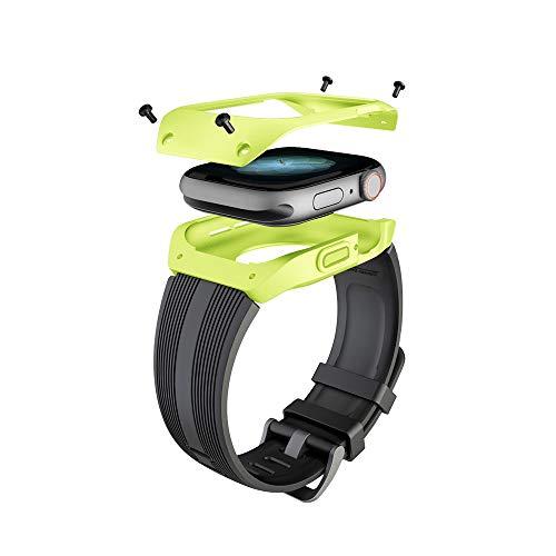 Aottom Compatible para Correas Apple Watch 44mm con Funda Apple Watch Series 5 4 Bandas Hombres Silicona Líquida con Shockproof Rugged Protective Cover para Apple Watch 44mm Negro Band+Verde Funda