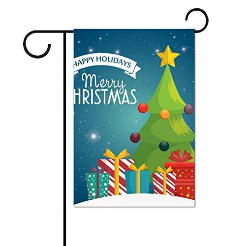 Wendana Happy Holidays Card Vrolijke Kerst Pine Ballen Tuin Vlaggen Dubbele Zijde 28 x 40 voor Outdoors Huis Yard Vlaggen Decoratieve Seizoensgebonden Decor Vlag voor Boerderij