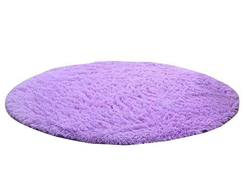 YAOTT Kunstfell Kurzflor Stuhlbezug Sitzpolster Shaggy Runde Teppiche Einfarbig für Wohnzimmer Schlafzimmer Stuhl Kissen Licht Violett 200 * 200cm Haar 3.5cm