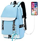 School Backpack for Teen Girls Boys Bookbag College Laptop Backpack with USB Charging Port (Teal)