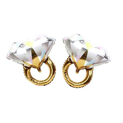 Toyvian 2 anillos de diamante con forma de anillo de globos, románticos, bodas, fiestas de compromiso, decoración, tamaño grande (dorado)