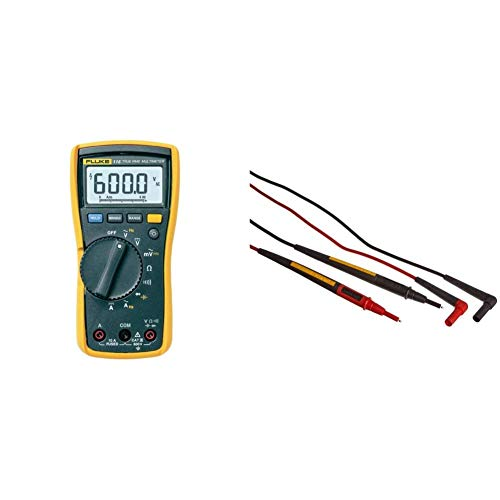 Fluke 115 Compact True-RMS Digital Multimeter & TL175E TwistGuard Double Insulated Silicone Test Lead Set with Removable 4mm Lantern Tips, 2mm Diameter Probe Tips
