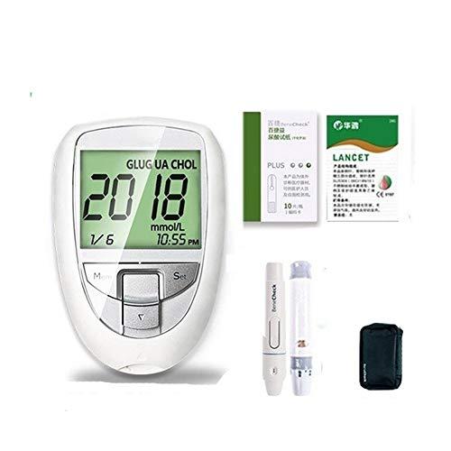 PLMN 3 in 1 Cholesterol Testsensoren, Überprüfen Sie Cholesterin, Harnsäure und Blutzucker mit Digital-großer LCD-Schirm einschließen 10PCS Cholesterin-Teststreifen (Color : 3 in 1 Test Meter)