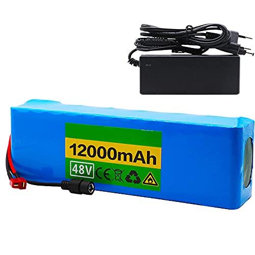 FJYDM Batería De Bicicleta Eléctrica 48V 12Ah, Batería Eléctrica para Bicicleta Li-Ion Batería con Cargador, Trabajo para Motor De 350W/500W/750W/1000W