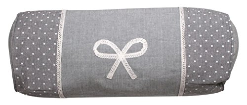 Cojín cilíndrico de algodón Bordado Emilie Gris de Soleil d'Ocre