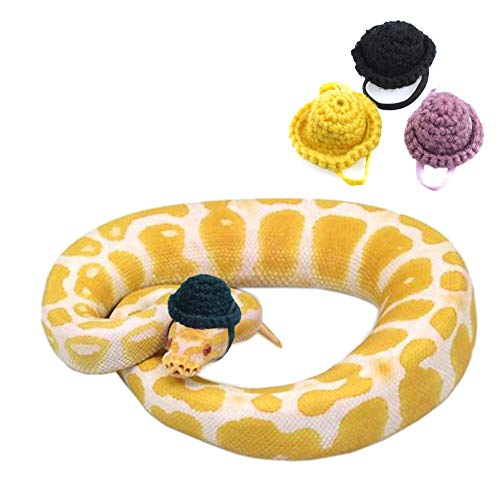 YUYUSO 3 Pack Snake Hats with Adjustable Elastic Chin Strap for Ball Python Tiny Pet Hat